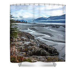 Turnagain Tide Flats Shower Curtain