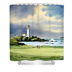 Shower Curtain featuring the painting Turnberry Golf Course Scotland 10th Green by Bill Holkham