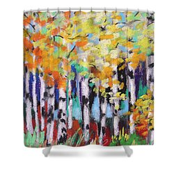 Turning Birches Shower Curtain by John Williams