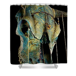 Turquoise And Gold Illuminating Steer Skull Shower Curtain