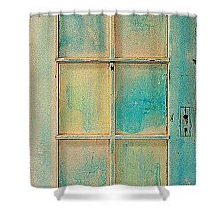 Turquoise And Pale Yellow Panel Door Shower Curtain by Asha Carolyn Young