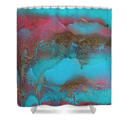 Turquoise And Pink Abstract Painting Shower Curtain
