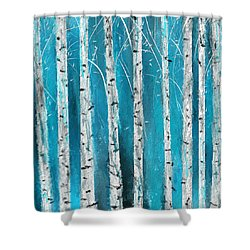 Turquoise Birch Trees II- Turquoise Art Shower Curtain