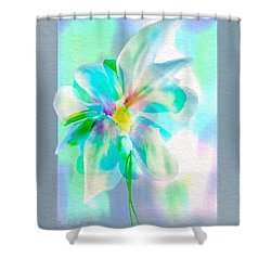 Shower Curtain featuring the digital art Turquoise Bloom by Frank Bright