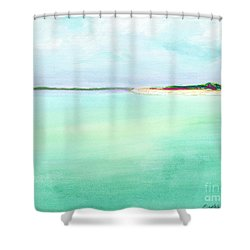 Turquoise Caribbean Beach Horizontal Shower Curtain
