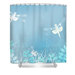 Turquoise Dragonfly Art Shower Curtain