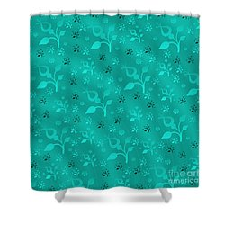 Turquoise Floral Mix Shower Curtain by Gaspar Avila