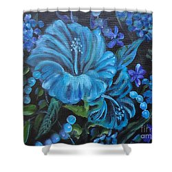 Turquoise Hibiscus Shower Curtain by Jenny Lee