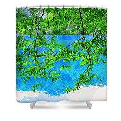 Turquoise Lake Shower Curtain by Ramona Johnston