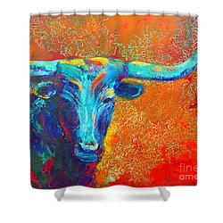 Turquoise Longhorn Shower Curtain by Karen Kennedy Chatham