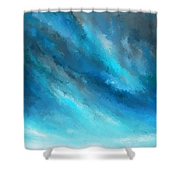 Turquoise Memories - Turquoise Abstract Art Shower Curtain