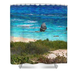 Shower Curtain featuring the photograph Turquoise Ocean And Pink Beach by Verena Matthew