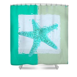 Turquoise Seashells Ix Shower Curtain by Lourry Legarde