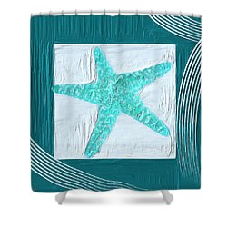 Turquoise Seashells Xvi Shower Curtain by Lourry Legarde