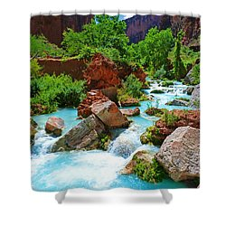 Turquoise Stream Shower Curtain
