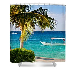 Turquoise Waters In Cozumel Shower Curtain by Mitchell R Grosky