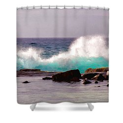 Turquoise Waves Shower Curtain by Sabine Edrissi