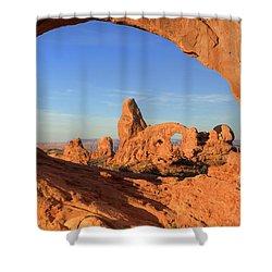 Shower Curtain featuring the photograph Turret Arch Through North Window by Alan Vance Ley