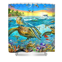 Turtle Cove Shower Curtain by Adrian Chesterman