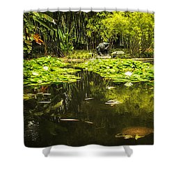 Turtle In A Lily Pond Shower Curtain