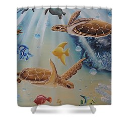 Turtles At Sea #2 Shower Curtain by Dianna Lewis