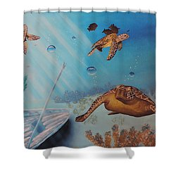 Turtles At Sea Shower Curtain by Dianna Lewis