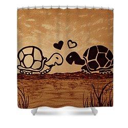 Turtles Love Coffee Painting Shower Curtain by Georgeta  Blanaru