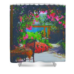 Shower Curtain featuring the painting Tuscan Courtyard by Tim Gilliland