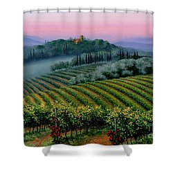 Shower Curtain featuring the painting Tuscan Dusk by Michael Swanson