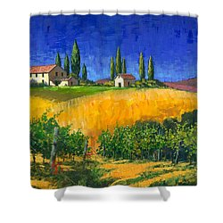 Shower Curtain featuring the painting Tuscan Evening by Michael Swanson