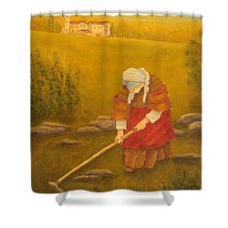 Tuscan Farmhouse At Sunset Shower Curtain by Pamela Allegretto