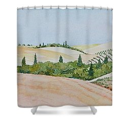 Shower Curtain featuring the painting Tuscan Hillside One by Mary Ellen Mueller Legault