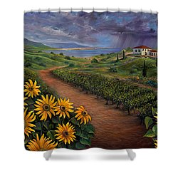 Tuscan Landscape Shower Curtain by Claudia Goodell