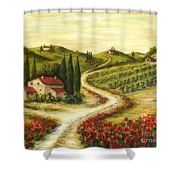 Tuscan Road With Poppies Shower Curtain by Marilyn Dunlap