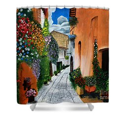 Shower Curtain featuring the painting Tuscan Street Scene by Bev Conover
