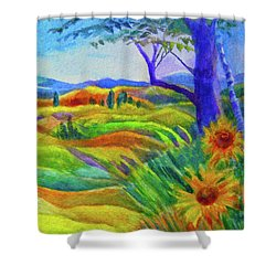 Tuscan Sunflowers Shower Curtain