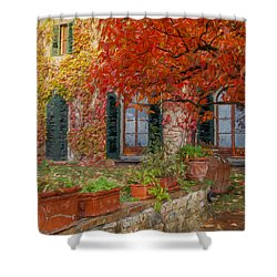 Tuscan Villa In Autumn Shower Curtain