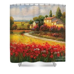 Shower Curtain featuring the painting Tuscan Villa  by Tim Gilliland