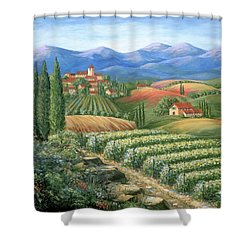 Tuscan Vineyard And Village  Shower Curtain by Marilyn Dunlap