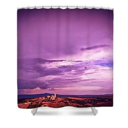 Tuscania Village With Approaching Storm  Italy Shower Curtain by Silvia Ganora