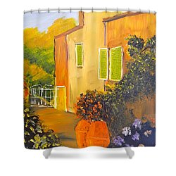 Shower Curtain featuring the painting Tuscany Courtyard by Pamela  Meredith