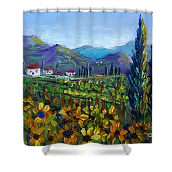 Shower Curtain featuring the painting Tuscany Sunflowers Miniature by Lou Ann Bagnall