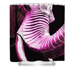 Tusk 2 - Pink Elephant Art Shower Curtain by Sharon Cummings
