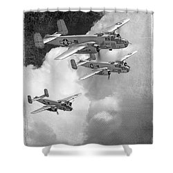 Tuskegee Airman...616th Bombardment Group Shower Curtain by Larry McManus