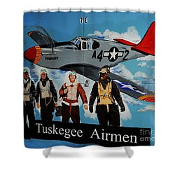Tuskegee Airmen Shower Curtain by Leon Hollins III