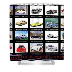 Twenty Corvettes Shower Curtain by Jack Pumphrey