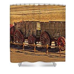 Twenty-mule Team In Sepia Shower Curtain by Robert Bales