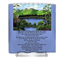 Twenty-third Psalm With Twin Ponds Blue Shower Curtain by Barbara Griffin