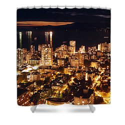 Shower Curtain featuring the photograph Twilight English Bay Vancouver Mdlxvii by Amyn Nasser