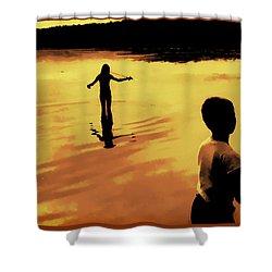 Shower Curtain featuring the photograph Twilight Fishing by John Hansen